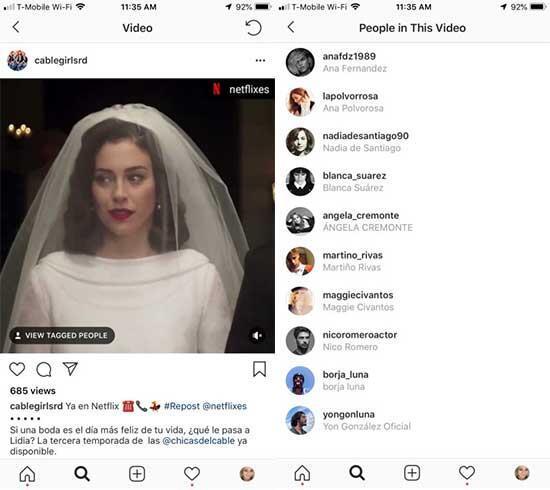 Instagram şimdi de video üzerinde arkadaşları etiketlemeyi test ediyor