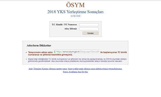 YKS 2018 yerlestirme osym sonuc sorgulama sayfasi