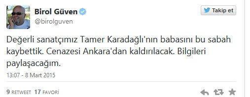 Oyuncu Tamer Karadağlının babası vefat etti
