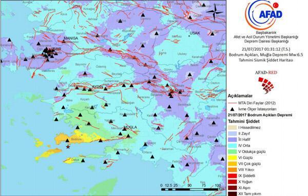 Bodrumda 6,6 büyüklüğünde deprem Plajda feci görüntü