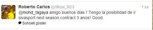 Roberto Carlostan Sivasspor Tweeti
