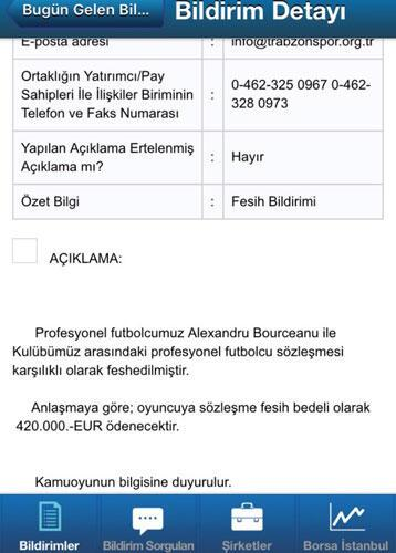 Trabzonsporda Bourceanu şoku