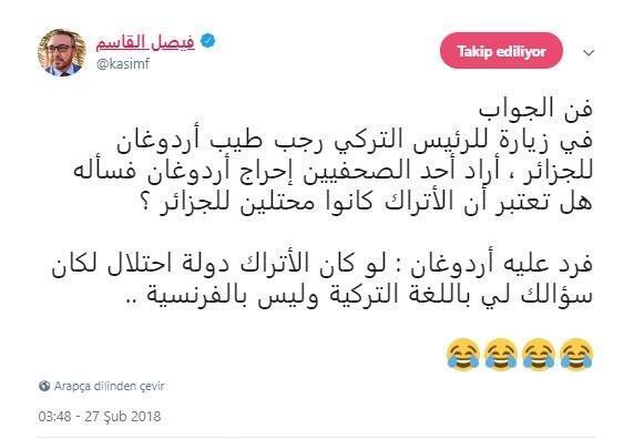 Erdoğandan Cezayirli gazeteciye tarihi yanıt