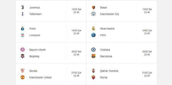 Bayern Münih Beşiktaş maçı ne zaman saat kaçta hangi kanalda Şampiyonlar Ligi son 16 turu kuraları...