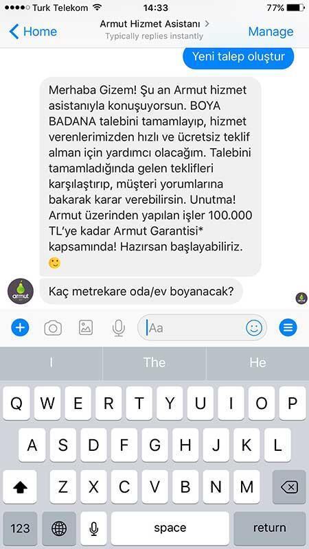 Messenger Chatbot Ile Bir Dakikada Boya Badana Talebi
