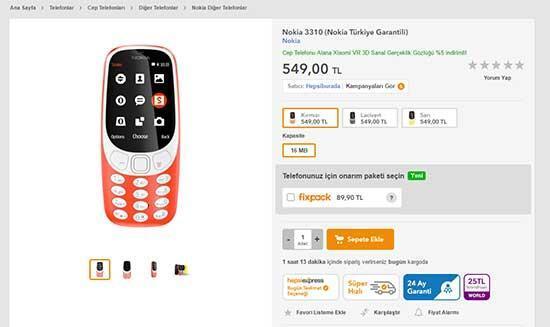 Nokia 3310'un Türkiye satış fiyatı belli oldu