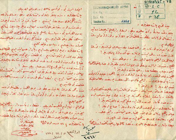 Fahreddin Paşanın Atatürke yazdığı mektup oraya çıktı