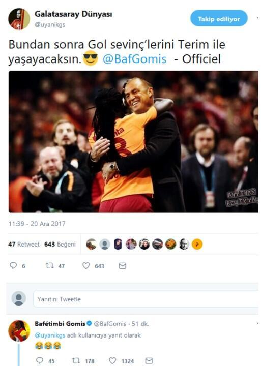 Gomis Fatih Terim paylaşımına yorum yaptı