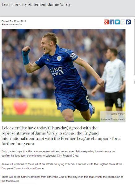 Jamie Vardy 2020ye kadar Leicester Cityde