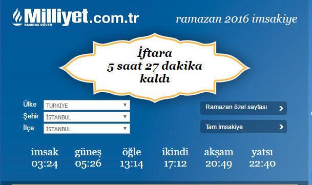 2016 Ramazan İmsakiyesi Diyanet İşte il il iftar ve sahur vakitleri