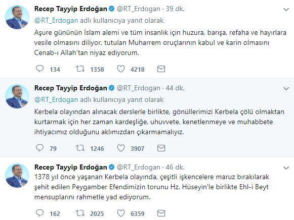 Cumhurbaşkanı Erdoğandan 10 Muharrem mesajı