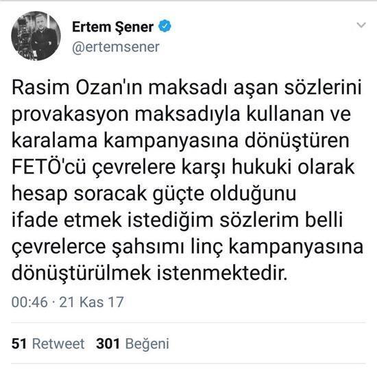Ertem Şener attığı o tweeti sildi