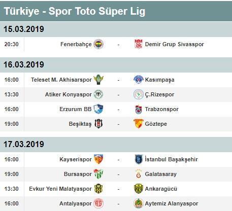 Süper Lig 25. hafta puan durumu ve toplu sonuçları   Süper Lig 26. hafta fikstürü