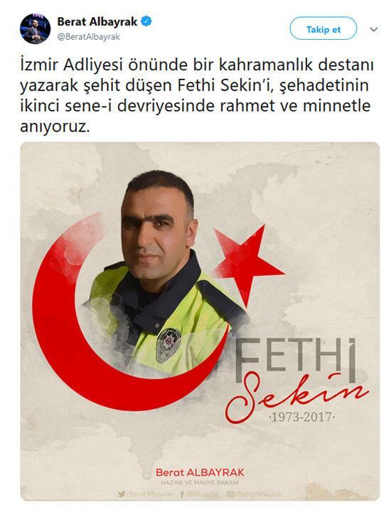 Bakan Albayraktan şehit Fethi Sekin için anma mesajı