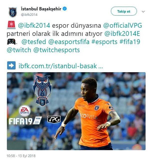 Başakşehir FK espor takımı kurduğunu açıkladı