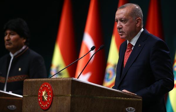 Cumhurbaşkanı Erdoğan: Bolivyanın Filistin davasına verdiği desteğe teşekkür ediyorum