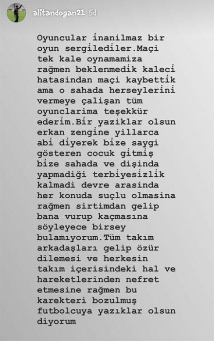 Ali Tandoğandan Erkan Zengine tepki