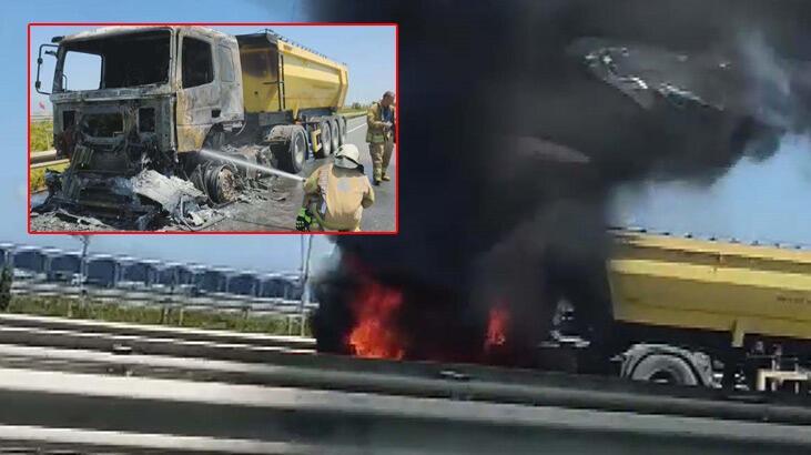 Arnavutköy Kuzey Marmara Otoyolu'nda hafriyat kamyonu alev alev yandı