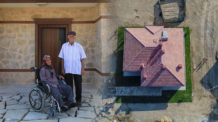 Manavgat'ta yanan evlerinin bir odasında yaşayan yaşlı çift yeni evlerine kavuştu