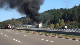 TEM'de TIR yangını! Trafik ulaşıma kapatıldı