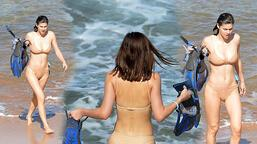 Alexandra Daddario çekim arasında denize girdi