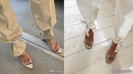 Bilekten bağlamalı ayakkabılarda en ilginç styling trendi