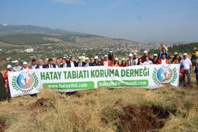 Kırıkhan'da fidanlar toprakla buluşturuldu