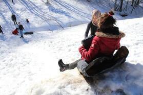 Domaniç'in karlı dağlarında kar keyfi