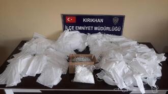 Kırıkhan'da kaçak maske üreten konfeksiyon atölyesine polis baskını