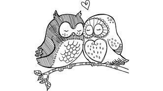 Sevimli baykuşlar boyama sayfası