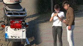 Plakasına maske takan ehliyetsiz motosikletli yakalandı!