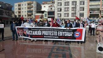 Kilis'te, memurlardan Fransa protestosu