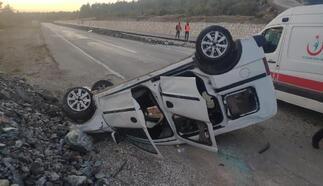 Takla atan araçtaki 2 kişi yaralandı