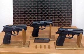 Çorlu'da 3 tabanca ele geçirildi; 5 gözaltı