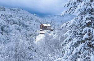 Horna Kanyonundan kar manzaraları