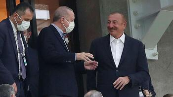 Son dakika - Cumhurbaşkanı Erdoğan, Bakü Olimpiyat Stadı'nda! Milli Takıma destek