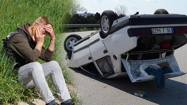 Otomobil takla attı! Sürücü dehşeti yaşadı