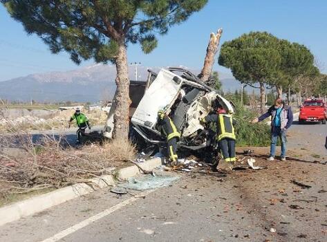 Refüjdeki ağaçlara çarpan kamyonetin sürücüsü ağır yaralandı