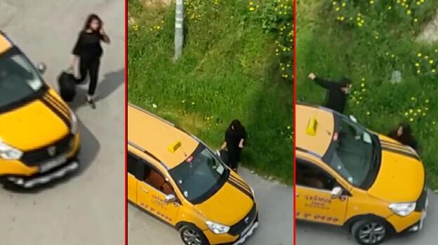 Taksici, takip ettiği genç kadına kabusu yaşattı! Önce çarptı sonra uzaklaştı
