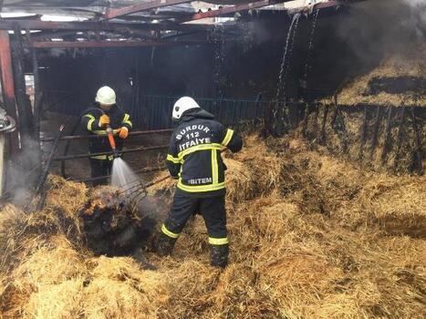Burdur'da samanlık yangını