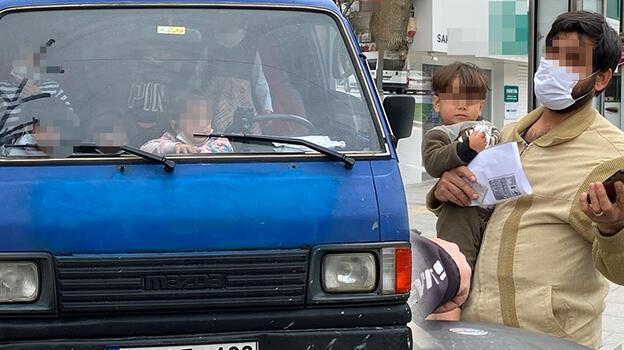 Kısıtlamada şok manzara! 6 çocuğunu gezdiren ehliyetsiz sürücüye ceza