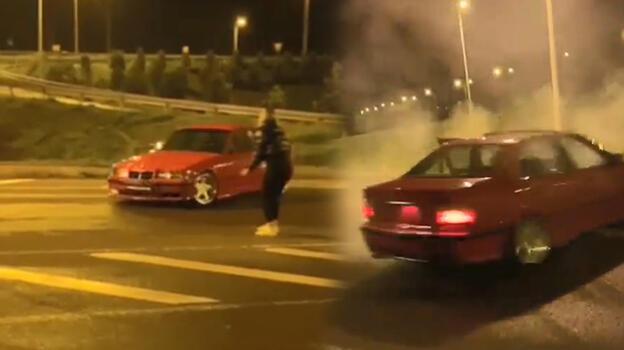 Kısıtlamada kız arkadaşının etrafında drift yapan sürücüye tepki