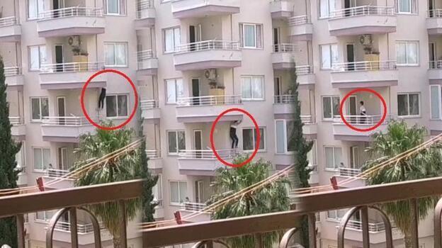 Anbean kaydedildi! Balkondan balkona atlayarak kaçmaya çalıştı