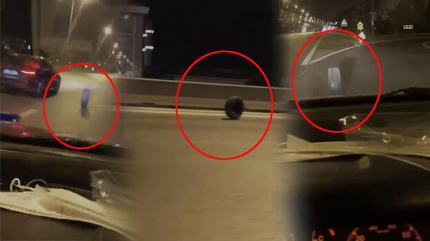 Taksiden çıkan tekerlek, karayolunda metrelerce yol aldı; Sürücüler tehlike atlattı