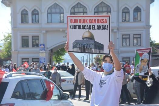 Bandırma'da İsrail protesto edildi