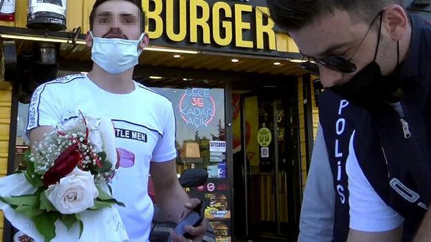 İzin belgesiz nişanlısına çiçek götürmek istedi cezayı yedi