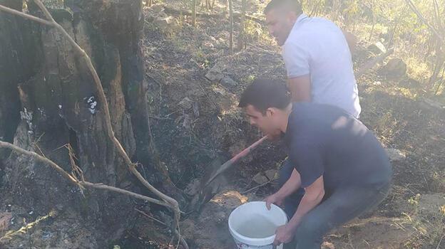 Keban'da bahçede çıkan yangın söndürüldü
