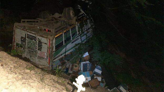 Arı kovanı yüklü kamyon uçuruma devrildi: Yaralılar var