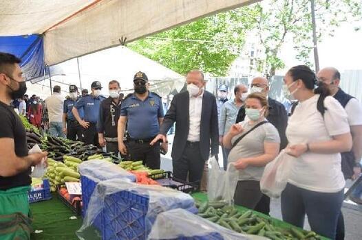 Kartal'da semt pazarlarında kovid-19 denetimi yapıldı