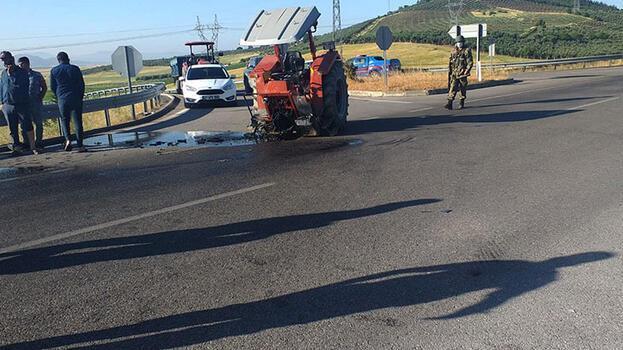 Kazada, traktör ikiye bölündü: 2 yaralı
